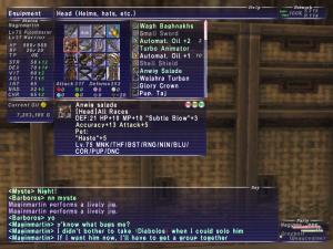 Acc+13, Atk+5 Pet:Haste+5 hat is nice!